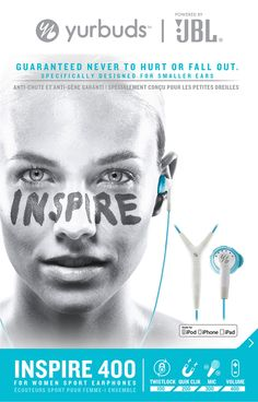 Yurbuds Inspire 400 for Women Aqua, vzdy.cz