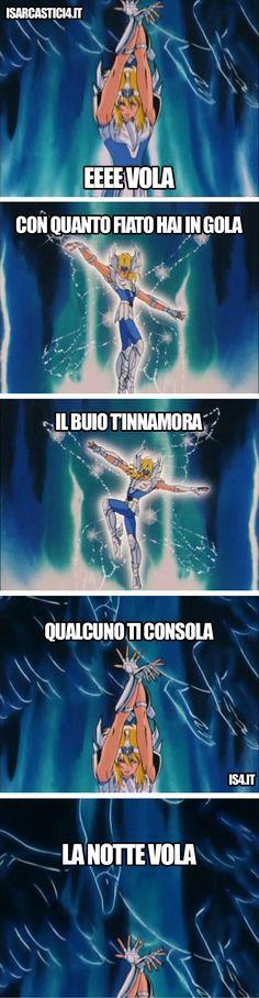 Cavalieri dello zodiaco meme ita - Lorella Cuccarini, La notte vola