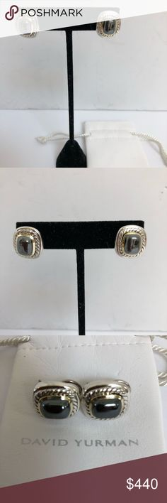 """David Yurman  silver gold Albion Hematite earrings Excellent condition sterling silver and 14 karat gold omega back earrings Total weight 22.15 grams Measurements are drop .81"""" x .76"""" David Yurman Jewelry Earrings"""