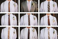love the different ties for guys! Just the same color as bridesmaid dresses