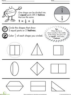 math worksheet : halves and quarters of shapes  maths fractions  pinterest  : Fractions Quarters Worksheets
