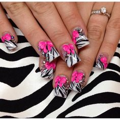 Zebra 3D Bow and Stones Nail Design | See more at http://www.nailsss.com/...  | See more nail designs at http://www.nailsss.com/nail-styles-2014/