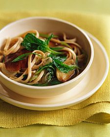 This recipe will serve four as a first course or light lunch. To serve the noodles as a meal, add a few cups of diced firm tofu or cooked chicken breast to the simmering broth in step 3.  Per serving: 272 calories, 5 g fat, 0 mg cholesterol, 48 g carbs, 832 mg sodium, 11 g protein, 2 g fiber