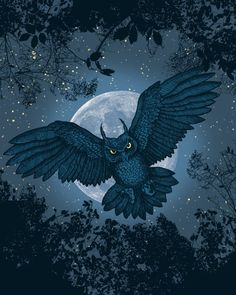 Flying Owl in front of the moon