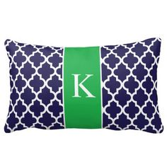 Kelly Green Navy Blue Moroccan Custom Monogram Throw Pillows