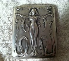 Blackinton Antique Sterling Silver Art Nouveau Nude Lady Cigarette Case