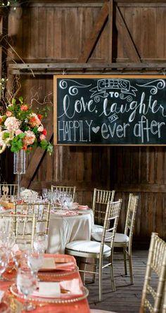 Chalkboard signs in barn wedding reception - The Wedding Story of Kelly & Logan Conner | WeddingDay Magazine