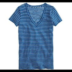 J. Crew vintage striped tee /grotto blue / t short J crew vintage fit cotton V-neck tee in grotto blue. Very soft cotton, gently worn. Size small J. Crew Tops Tees - Short Sleeve