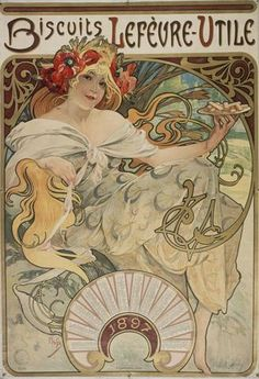 Mucha created this fabulous 1897 calendar ad for the Lef vre-Utile Biscuit Co, and he was the first to utilize the initials for the company, LU, which is now how it is most widely recognized. All of o