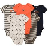Give your little guy a sporty look with these short-sleeve bodysuits that feature a football theme. Pair with bottoms for a complete outfit.