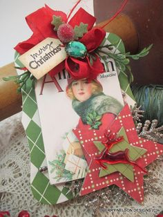 handmade christmas ornament-vintage style by cherrysjubileecards