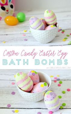 Cotton Candy Easter Egg Bath Bomb Recipe on www.girllovesglam.com