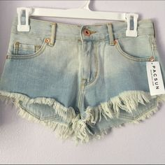 High rise light denim wash shorts Brand new • never worn • with tax the shorts were $45 PacSun Shorts Jean Shorts