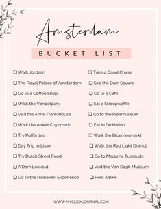 bucket list travel Here are the top things to do in Amsterdam - the ultimate Amsterdam Bucketlist with what to eat on your Amsterdam itinerary. My travel guide and Amsterdam Bucket List for going for the first time- or last time. Travel Checklist, Travel List, Travel Packing, Travel Bucket Lists, Paris Bucket List, Europe Bucket List, Budget Travel, Travel Essentials List, Bucket List Holidays
