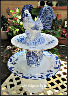 Blue and White Rooster Garden Totem / by GardenWhimsiesByMary, $50.00