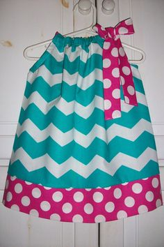 Pillowcase Dress CHEVRON Turquoise Hot Pink by lilsweetieboutique, $19.99