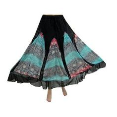 """Bohemian Skirt Black Georgette Turquoise Printed Skirts for Women 38"""" (Apparel)  http://www.amazon.com/dp/B00763TS4S/?tag=http://howtogetfaster.co.uk/jenks.php?p=B00763TS4S  B00763TS4S"""