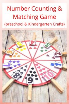 Number matching game with free printable - preschool and kindergarten craft