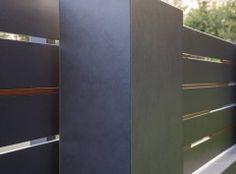 XCEL Flow Fence with LED lighting, ready concrete bollards House Fence Design, Front Gate Design, Main Gate Design, Compound Wall Design, Wallpaper Nature Flowers, Sliding Gate, Front Gates, Modern Fence, Metal Fence