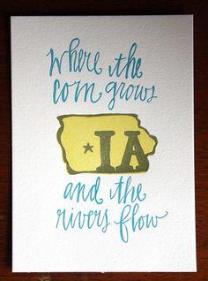 Iowa State Series Letterpress Print from on Etsy.I love Iowa! Super 8, Quad Cities, Iowa Hawkeyes, My Roots, Iowa State, Letterpress Printing, In This World, Illinois, My Favorite Things