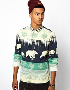 ASOS Shirt in Long Sleeve with Winter Scene