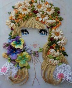 broderie au ruban, une fille, la proncesse des fleurs