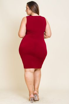 Plus Size Zip Down Ruched Dress