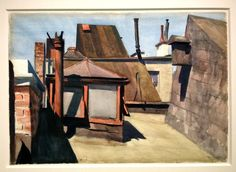"""""""My Roof"""", 1928, watercolor, Collection Thyssen Bornemisza"""