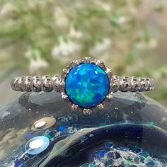Blue Opal Crown Ring