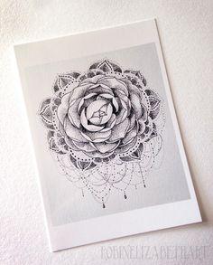 Camélia Dotwork carte postale - mignons petits caractères de Robin Elizabeth Art