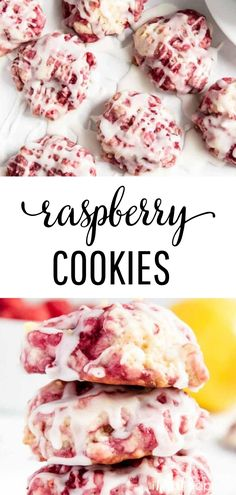 Glazed Raspberry Lemon Cookies | Soft raspberry lemon cookies with a sweet lemon glaze. The bright fruity flavors mixed with the buttery cookie base are a match made in heaven!