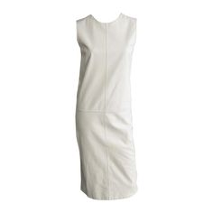 HERMES White Leather Shift Dress with Seam Detail | From a collection of rare vintage day dresses at https://www.1stdibs.com/fashion/clothing/day-dresses/