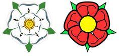 In questa immagine troviamo rappresentati gli emblemi delle due casate. La rosa bianca era l'emblema degli York, mentre quella rossa dei Lancaster