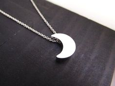Moon Necklace Silver Small Charm Choker Crescent Moon by IrinSkye, $16.00