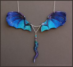 Blue Dragon Wings - Leather Necklace by windfalcon on DeviantArt