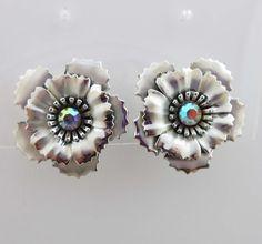 Coro Earrings Rhinestones AB Silver Clip On Backs Floral Flower Aurora  9024 #Coro #Cluster