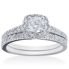 @Overstock - Bliss 14k White Gold 1 1/6ct TDW Diamond Bridal Ring Set (G-H, I1-I2) - White diamond bridal set14k white gold jewelryClick here for ring sizing guide  http://www.overstock.com/Jewelry-Watches/Bliss-14k-White-Gold-1-1-6ct-TDW-Diamond-Bridal-Ring-Set-G-H-I1-I2/9089706/product.html?CID=214117 $949.99