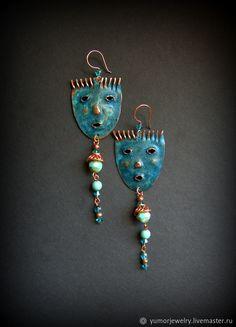Copper earrings | Купить Длинные серьги из меди Маски-2 в интернет магазине на Ярмарке Мастеров