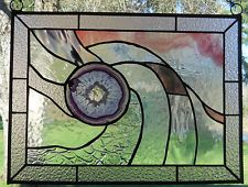 STAINED GLASS PANEL WITH QUARTZ GEODE AGATE/LAVENDER /NEW