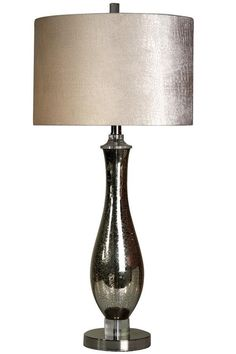 "Amanda 32"" Table Lamp with Faux Leather Shade"