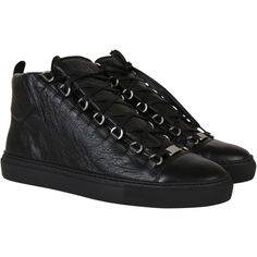 Balenciaga Sneakers ($355) ❤ liked on Polyvore featuring men's fashion, men's shoes, men's sneakers, black, mens black high top shoes, mens high top shoes, mens black hi top sneakers, mens black sneakers and mens black shoes