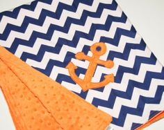 SALE! Nautical Anchor Navy Chevron with Dimple Dot Cuddle Minky Minkee Baby, Crib Childrens Blanket or Toddler Bedding on Etsy, $45.00