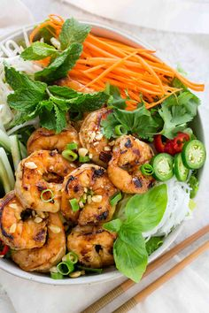 Vietnamese shrimp salad is a light meal packed with bold flavors and serious crunch. A traditional rice noodle salad loaded with seared shrimp, crisp vegetables, and an irresistible nuoc cham sauce. Shrimp Rice Noodles, Shrimp And Rice, Shrimp Salad, Grilled Shrimp, Vietnamese Noodle Salad, Vietnamese Food, Vietnamese Recipes, Korean Food, Asian Recipes