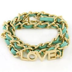 Turquoise Gold Tone Leatherette 'LOVE' Bracelet Gold tone chain 'LOVE' bracelet with light turquoise weaved leatherette.  Bracelet is approx. 21.5 inches long when unrolled and unclasped.  The bracelet also has an extension. Jewelry Bracelets