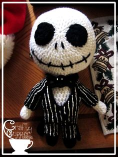 Amigurumi Crochet Jack Skellington Plush Nightmare Before Christmas Crochet :: 12 Inches tall - Crochet Skull, Cute Crochet, Crochet Dolls, Crochet Crafts, Crocheted Toys, Amigurumi Patterns, Amigurumi Doll, Knitting Patterns, Yarn Projects