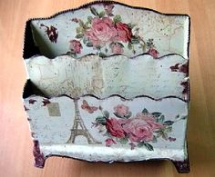 I have a similar type of magazine holder that could be decoupaged and painted in this style. Decoupage Vintage, Decoupage Box, Shabby Chic Crafts, Vintage Shabby Chic, Shabby Chic Style, Manualidades Shabby Chic, Fun Crafts, Paper Crafts, Pretty Box