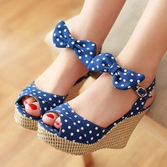 Summer Platform Shoes Ladies Fish toe Polka dot Bow Platform Wedges Heels Women Shoes Two Piece Ladies Shoes Red Blue 4-08   Clothing Deals 4 You