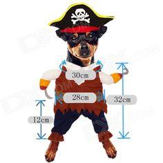 YDL-F4001-M Moda pirata del estilo del juego w / Sombrero de perro de mascota - Marrón + Multicolor (Talla M)