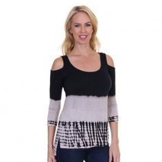 A trendy top with shoulder-baring cutouts and panels from Luna West reflects a trendy look. The ombre bamboo black cream dye tunic will provide a chic flair the moment you slip into it. Versatile piece can be paired with jeans or pants and matching shoes