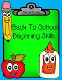 Back to School Beginning Skills